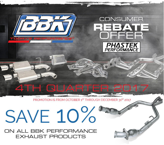 BBK 10 percent rebate 2017 exhausts mufflers