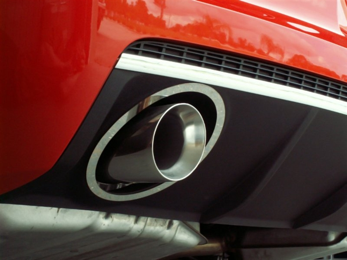 Polished Full Oval Exhaust Trim Rings & Exhaust Tips :: 2010-2013 Camaro  LS/LT V6