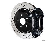 2010-2015 Camaro SS W4A Rear Big Brake Kit For OE Parking Brake (4 piston, Drilled and Slotted, black caliper) #140-11270-D