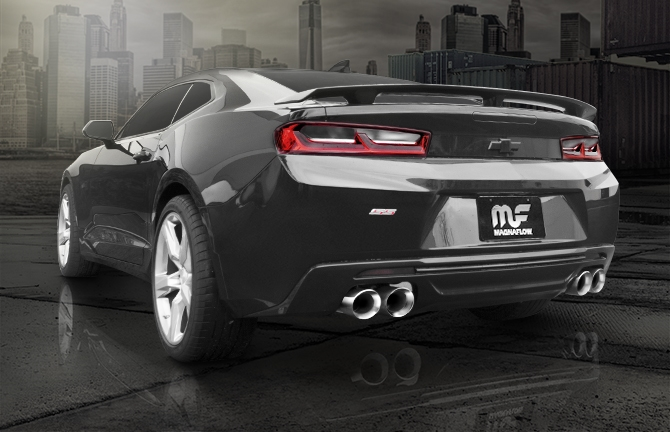 2016 2017 Camaro Magnaflow Exhaust 19265 Installed Rear View Tips