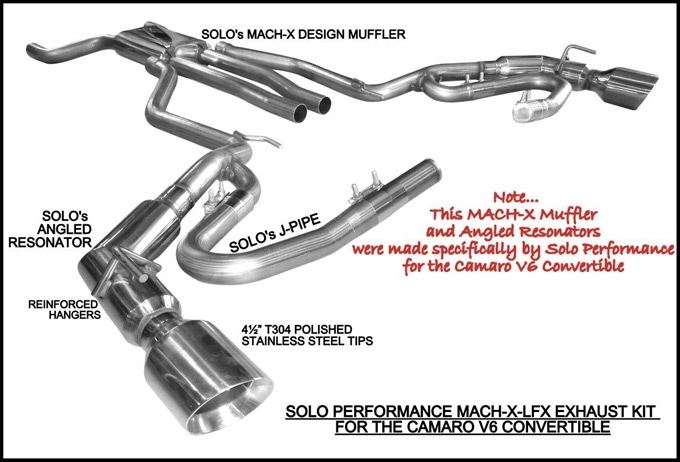 Camaro V6 Convertible Cat Back Exhaust Kit Mach-X-LFX By Solo Performance 2011 2012 2013 2014 2015