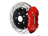 2010-2015 Camaro SS W4A Rear Big Brake Kit For OE Parking Brake (4 piston, Drilled and Slotted, red caliper) #140-11270-DR